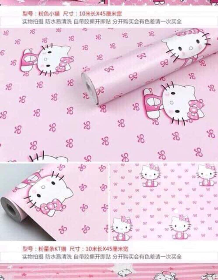 Combo 10M giấy dán tường Mèo Kitty Hồng Nhạt (10mx0.45m)