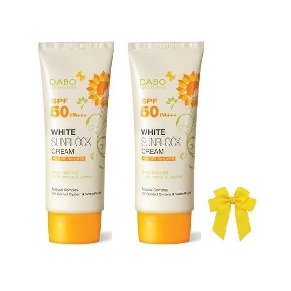 Combo 2 hộp kem chống nắng Dabo Whitening SPF 50 PA+ Hàn Quốc (70ml) và nơ