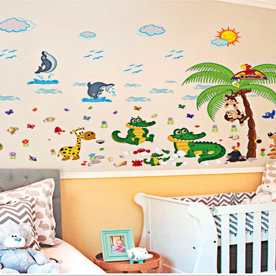decal dán tường cho bé ngụ ngôn cá sấu và khỉ sk9090