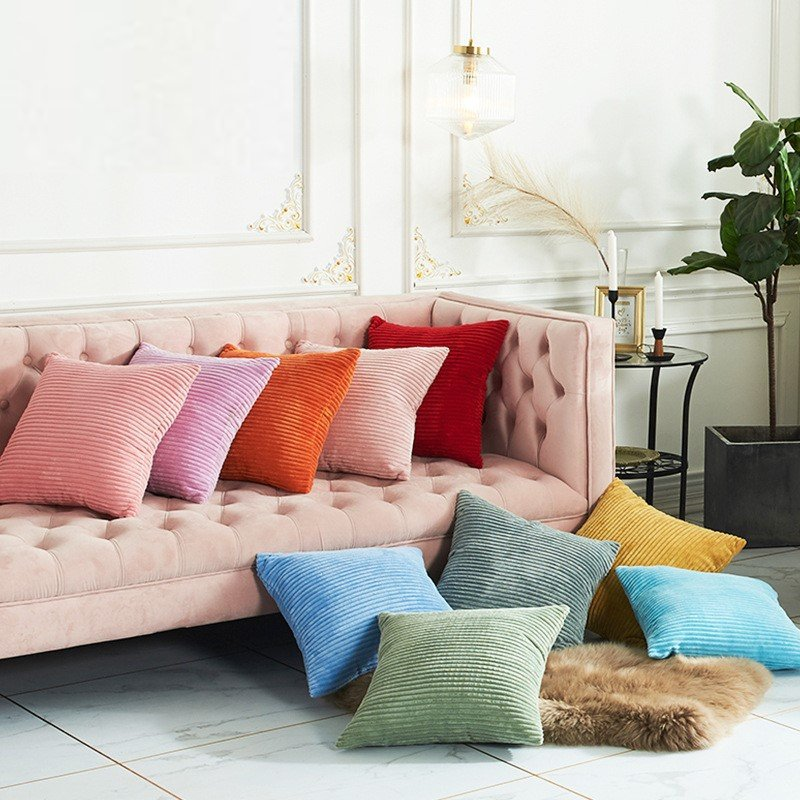 Vỏ Gối Tựa Lưng Sofa Nhung Sọc Sang Trọng