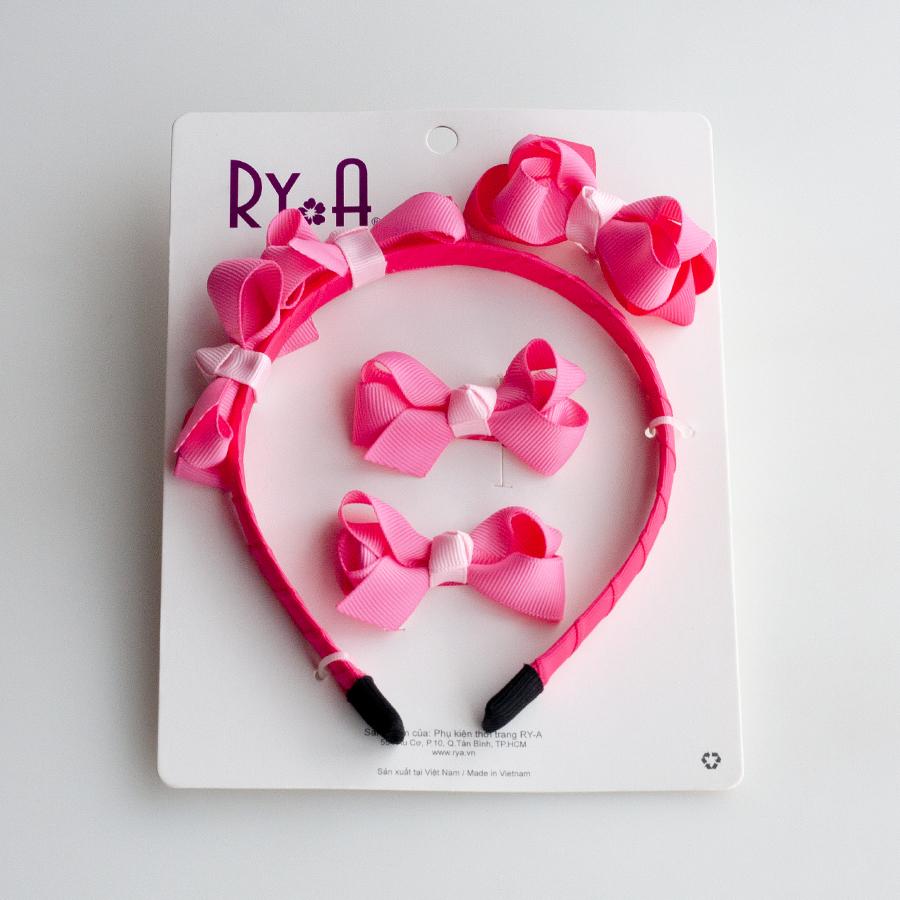 Bộ cài kẹp tóc cho bé nơ ruy băng hồng RYA 351441