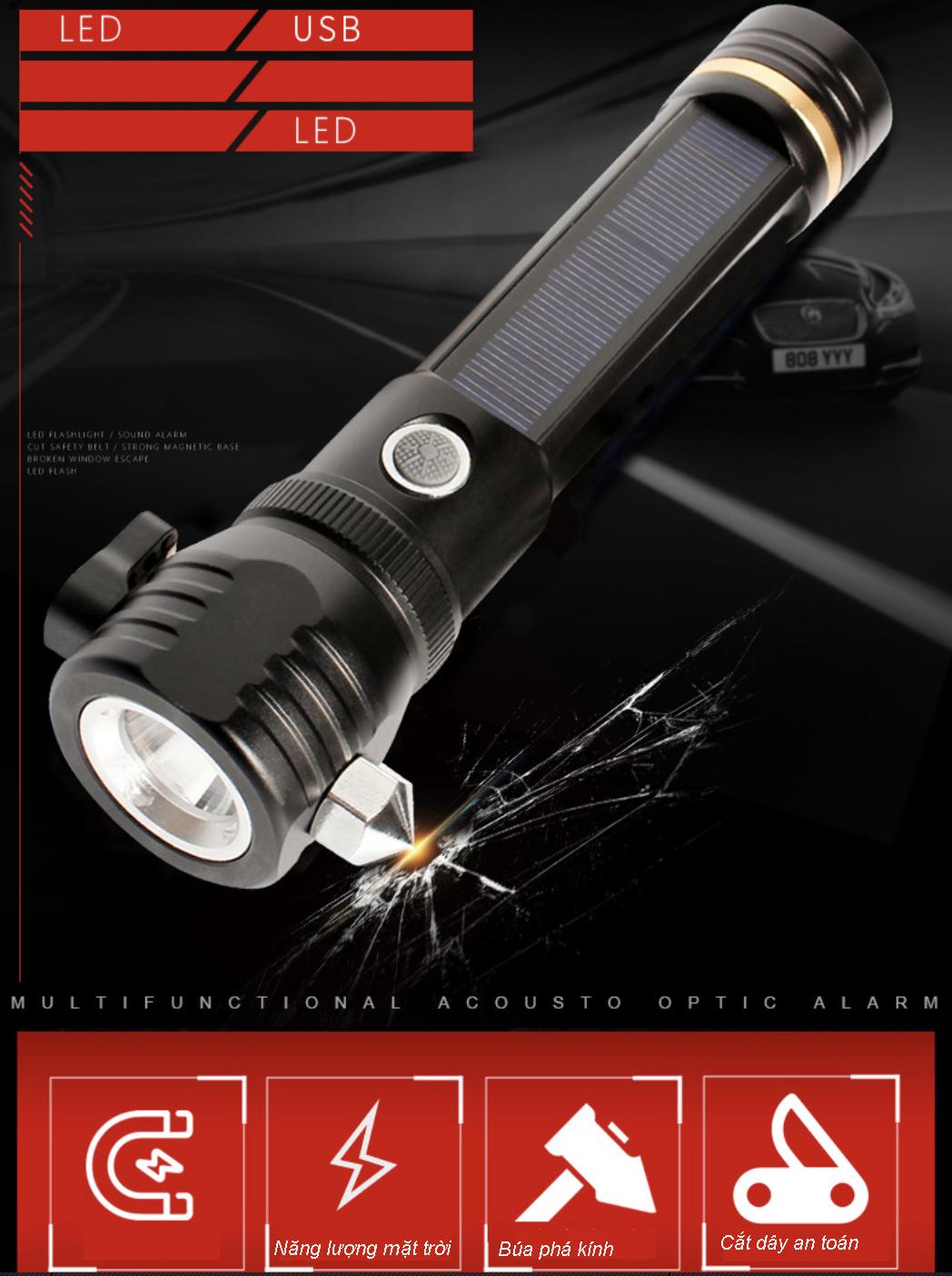 Đèn pin siêu sáng thoát hiểm 7 chức năng