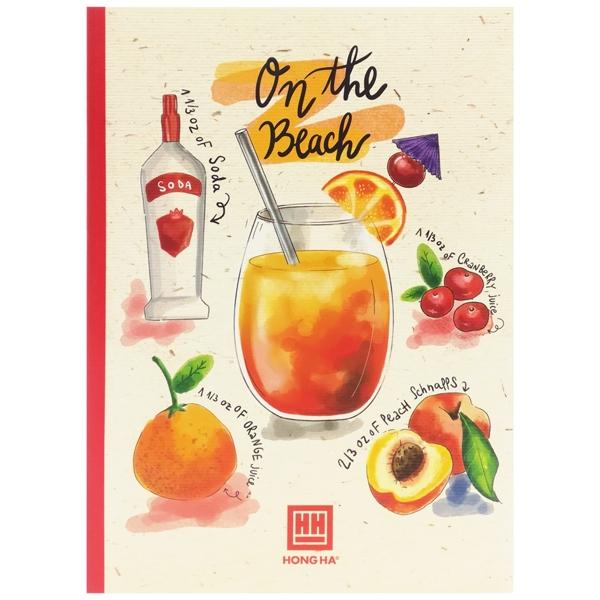 Bộ 5 Vở Kẻ Ngang Có Chấm Cocktail - 120 Trang Không Kể Bìa - ĐL 70 - Mẫu 1 - On The Beach - Màu Đỏ