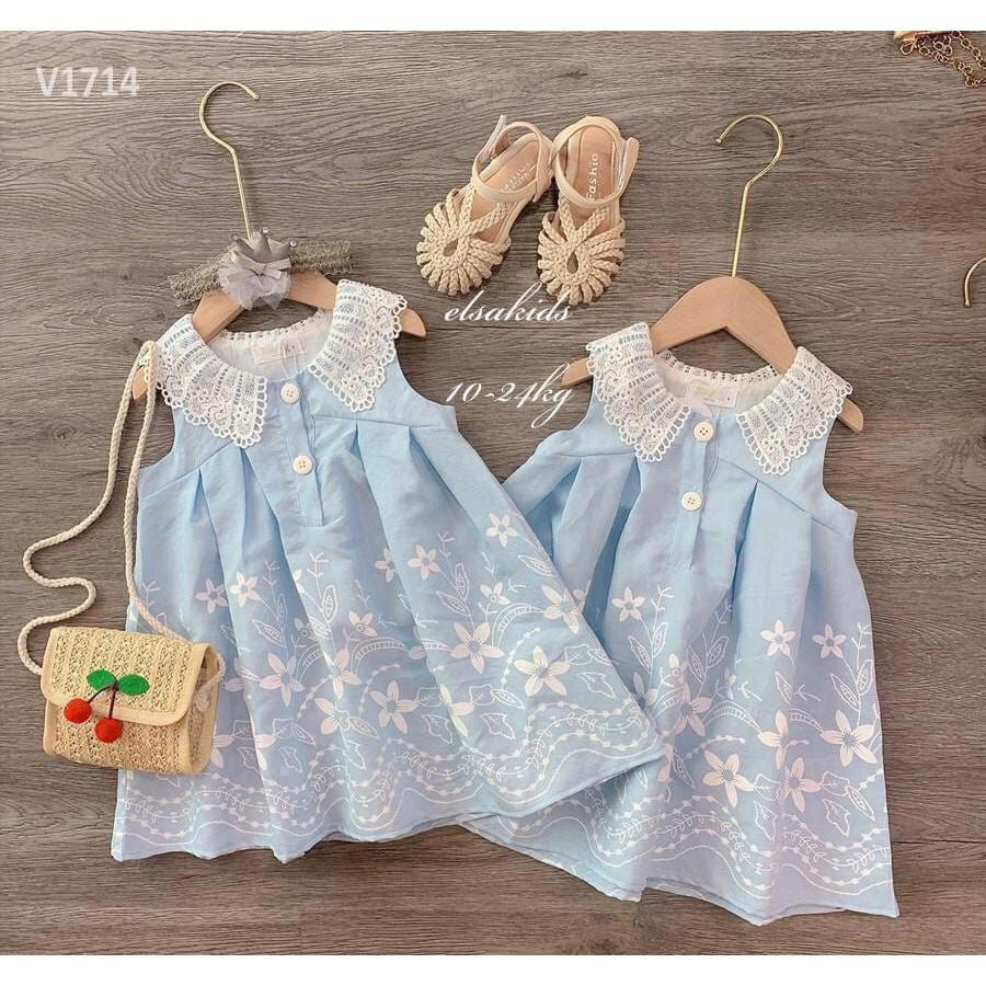 Váy bé gái sóng xanh