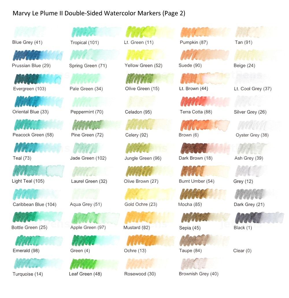Bút lông hai đầu màu nước Marvy LePlume II 1122 - Brush/ Extra fine tip - Green (4)