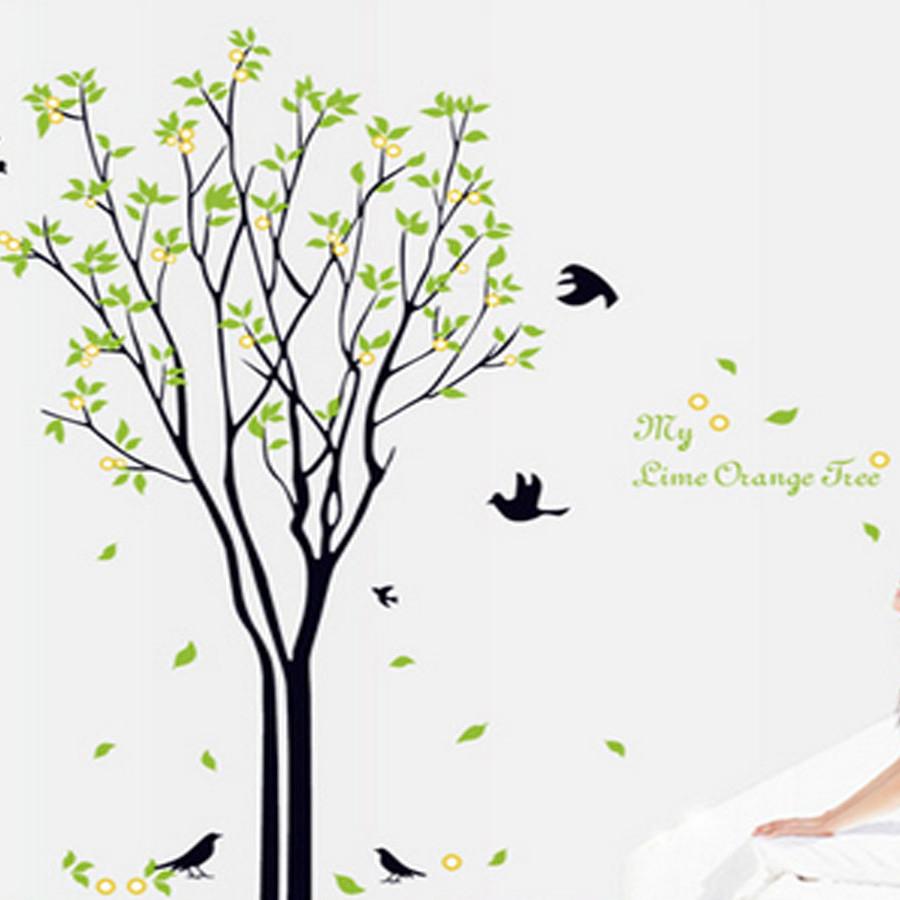 Decal dán tường cây xanh chim én mùa xuân đẹp