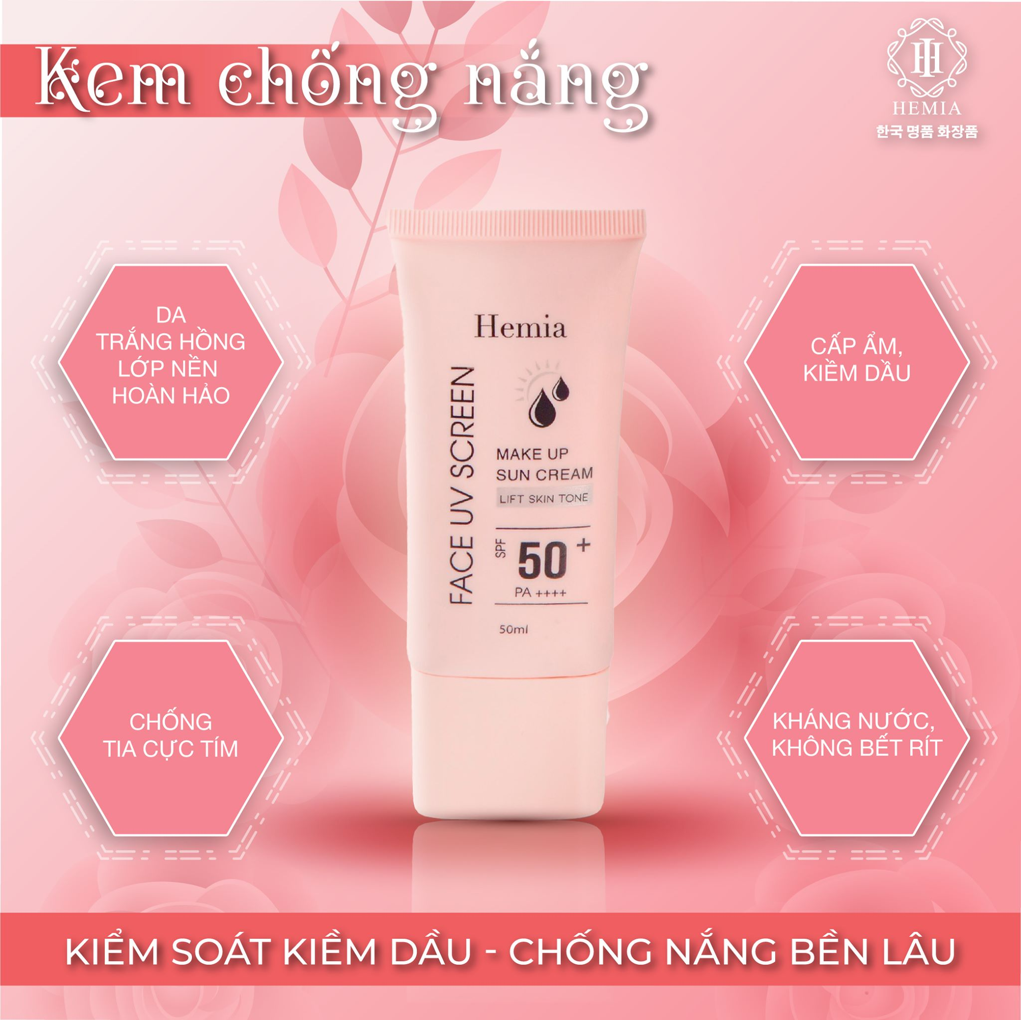 [Combo 2 Hộp] Kem Chống Nắng Dưỡng Trắng Chống Lão Hoá & Kiềm Dầu Kiêm Make Up Nâng Tone Cho Da Hemia Hàn Quốc