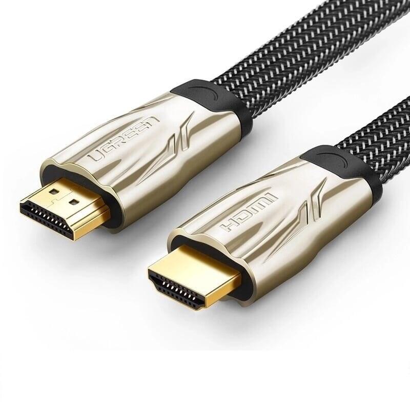 Cáp tín hiệu HDMI dẹt bọc lưới chống nhiễu hỗ trợ 3D 4K màu đen dài 3M UGREEN HD10253Hd102 Hàng chính hãng