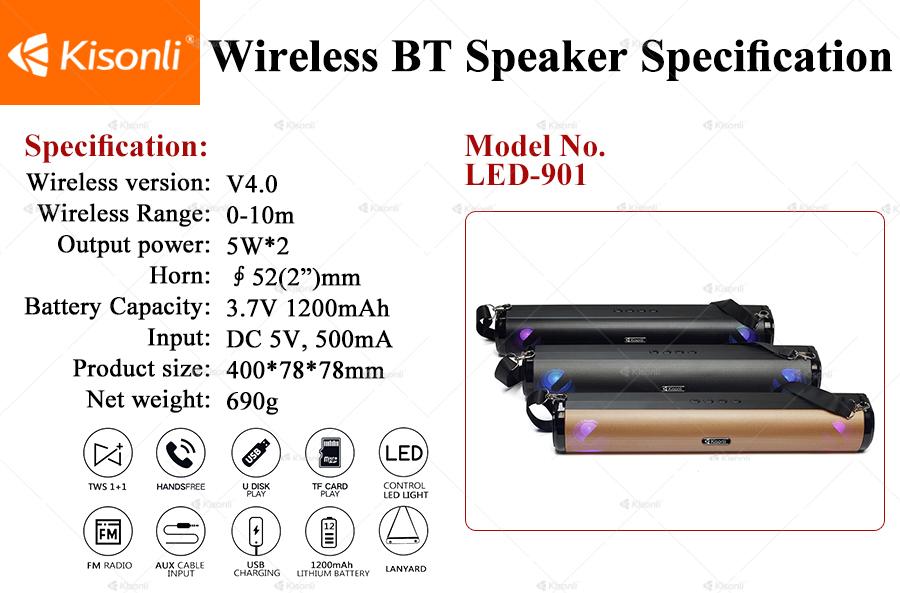 Loa Kisonli Bluetooth 901- LED RGB- Hàng Chính Hãng