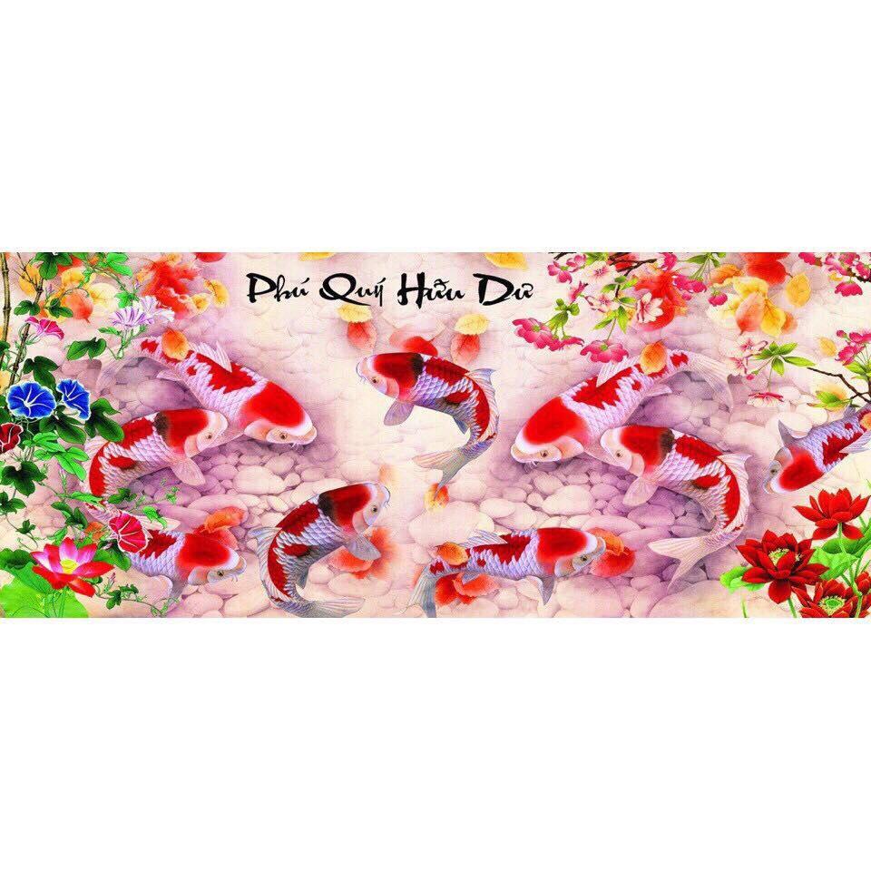 Tranh đính đá Phú Quý Hữu Dư ( chưa đính) - AL88566 - 108x50cm