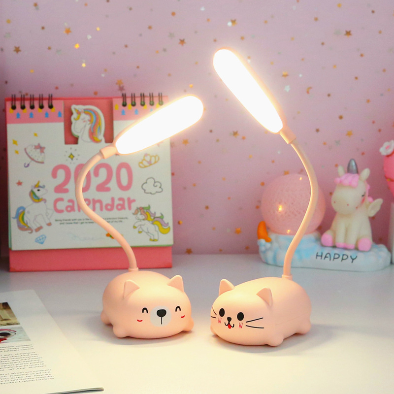 Đèn led để bàn sạc usb hình thú dễ thương - Mèo - Trắng