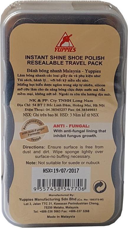 Đánh bóng nhanh đồ da Yuppies Instant Shine Shoe Polish - Neutral (Malaysia)