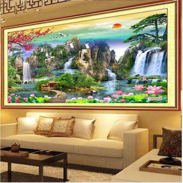 Tranh Treo Phòng Khách - Tranh Sơn Thủy Hữu Tình ST0003