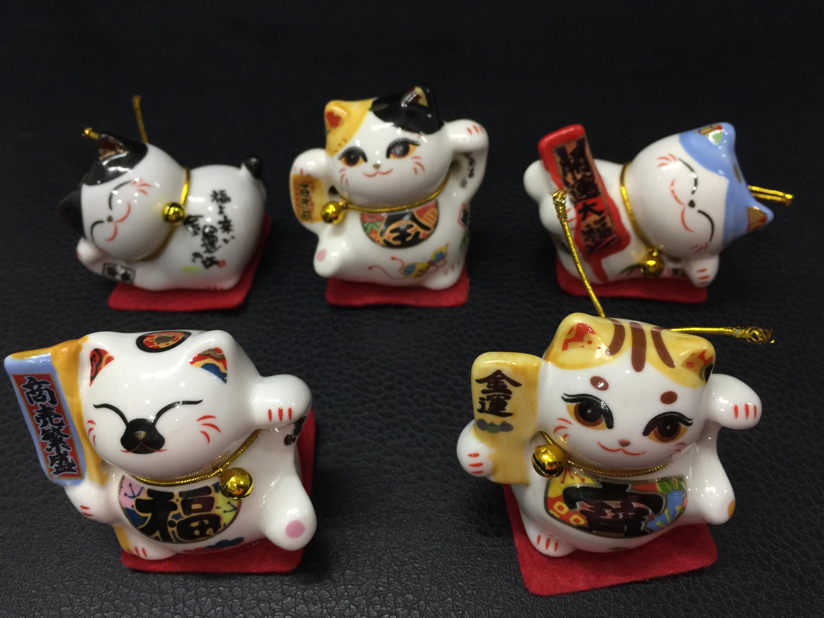 """Bộ 5 chú mèo """"thần tài"""" - Maneki Neko - bằng sứ cao cấp - Cỡ trung 02"""