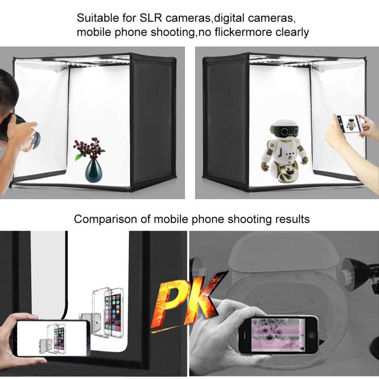 Hộp chụp ảnh sản phẩm studio Promax Puluz PU5060AU kèm đèn LED 60W 60x60x60cm (Tặng kèm 6 phông nền)