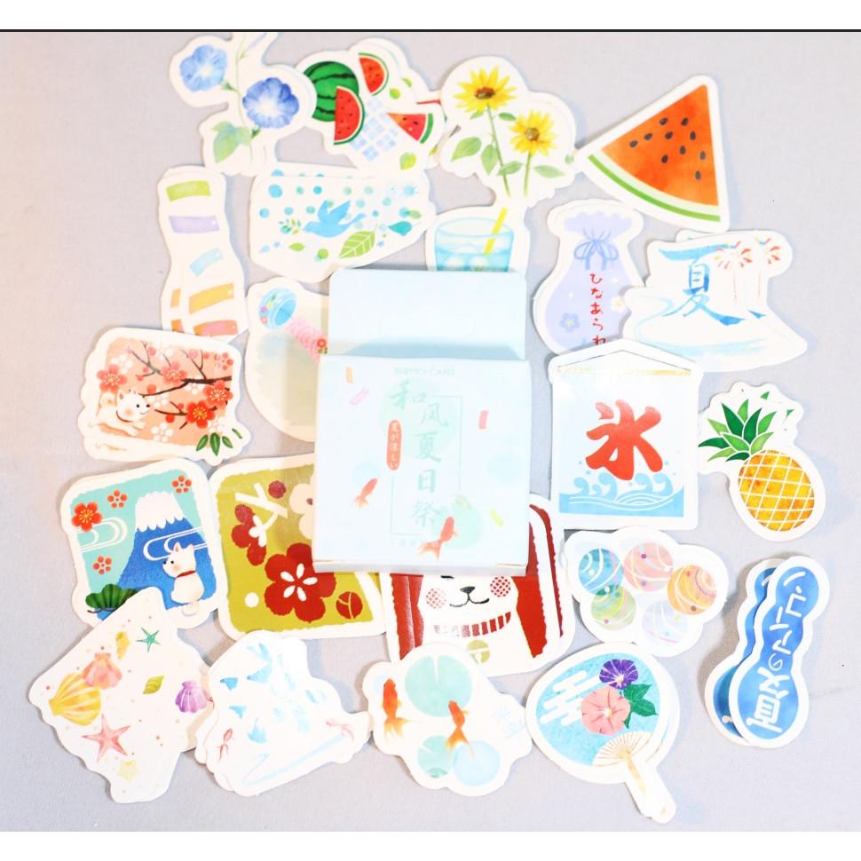 Hộp 46 Miếng Dán Sticker Trang Trí Lễ Hội Nhật Bản