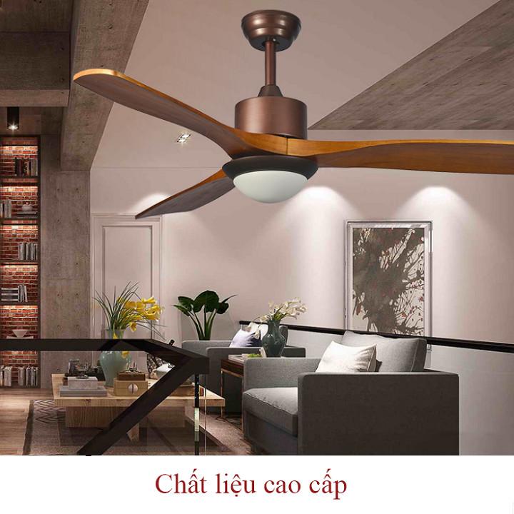 Quạt trần đèn 3 cánh phòng ngủ phong cách châu Âu có điều khiển từ xa