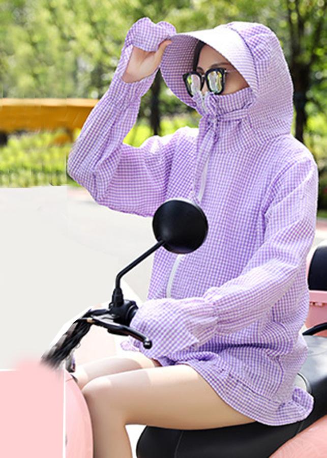 Áo khoác chống nắng nữ kẻ caro trùm mông chất đẹp gồm mũ (KÉO KHÓA - DN)- Tặng ngay 1 kính mắt thời trang
