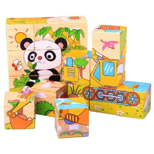 Đồ chơi gỗ ghép hình 9 khối 6 mặt hoạt hình (Giao Ngẫu Nhiên)