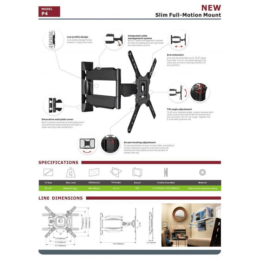 Giá treo tivi đa năng góc 2 tay nhập khẩu NBP4 dùng cho tivi 32-55 inch