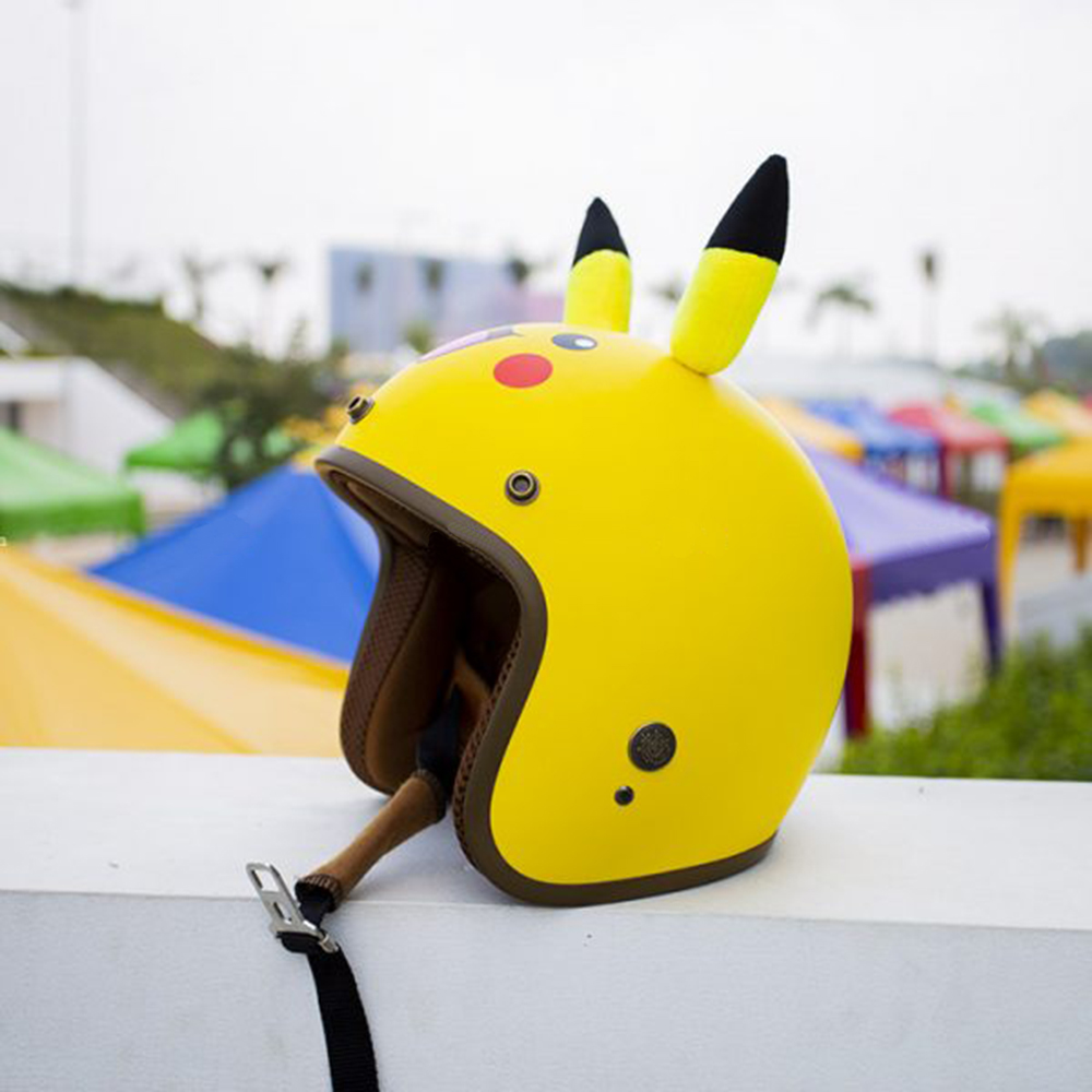 Mũ Bảo Hiểm Phượt 3/4 đầu hình thú Pokemon có tai