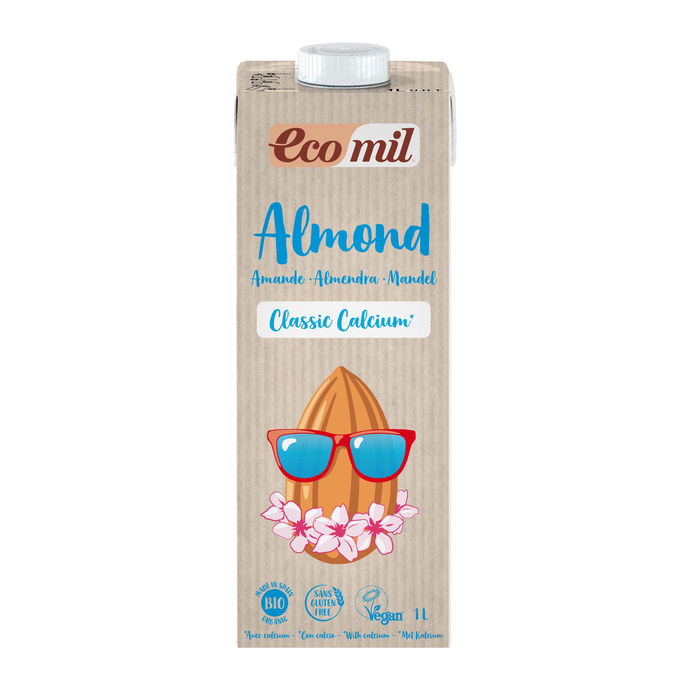 Sữa Hạt Hạnh Nhân Nguyên Chất Calcium Hữu Cơ Ecomil 1L