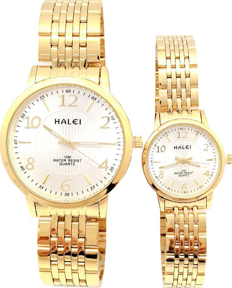 Cặp Đồng Hồ Nam Nữ Halei HL564 Dây vàng mặt vuông Tặng pin Nhật sẵn trong đồng hồ  Móc Khóa gỗ Đồng hồ 888 y hình - Vàng - Trắng