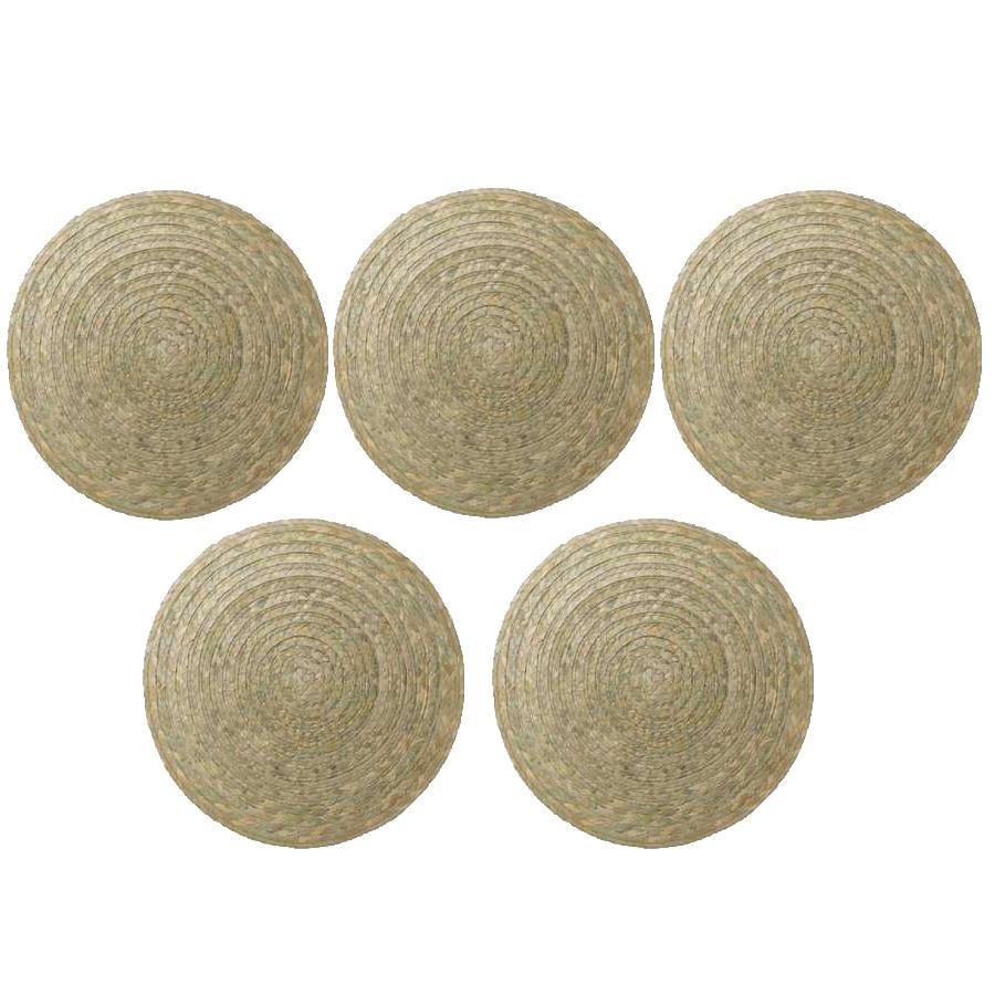 Set 5 tấm đế lót bàn ăn bằng lá buông dệt tay (Palm Slip Place Mat) - Màu xanh lá