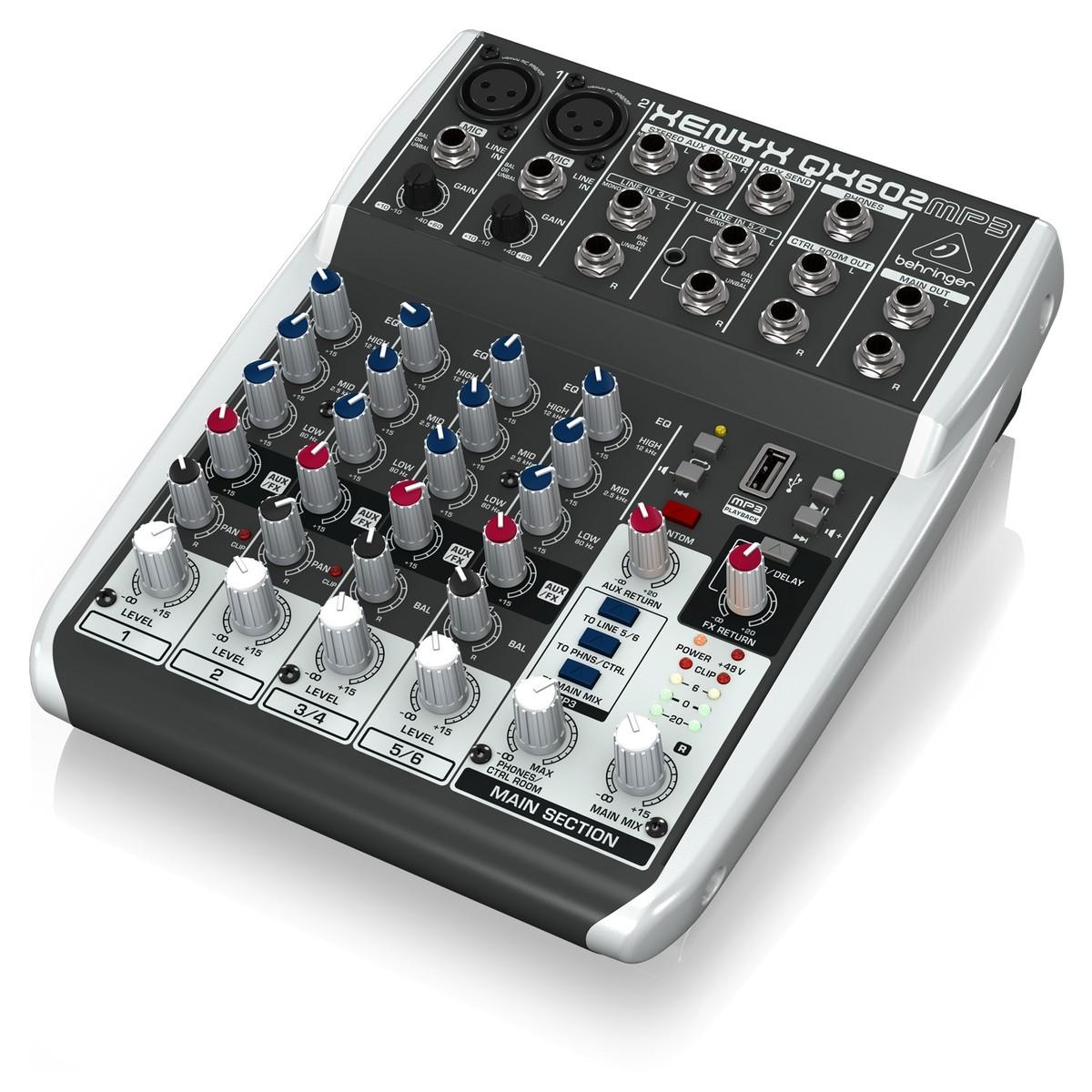 Behringer XENYX QX602MP3 6-Input Mixer with MP3 Player - Hàng Chính Hãng