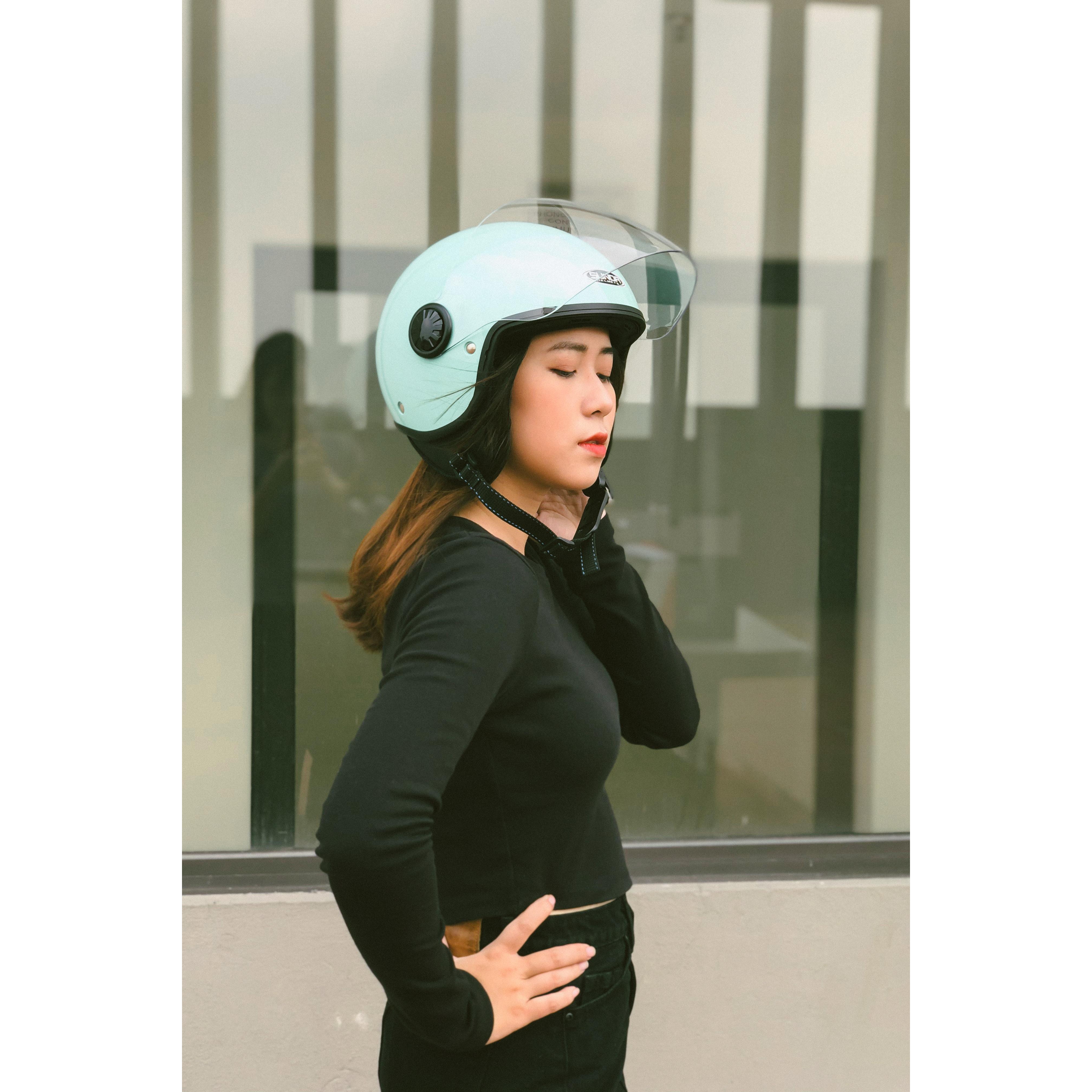 Mũ bảo hiểm 3/4 1 kính SUNDA 228 - Xanh pastel