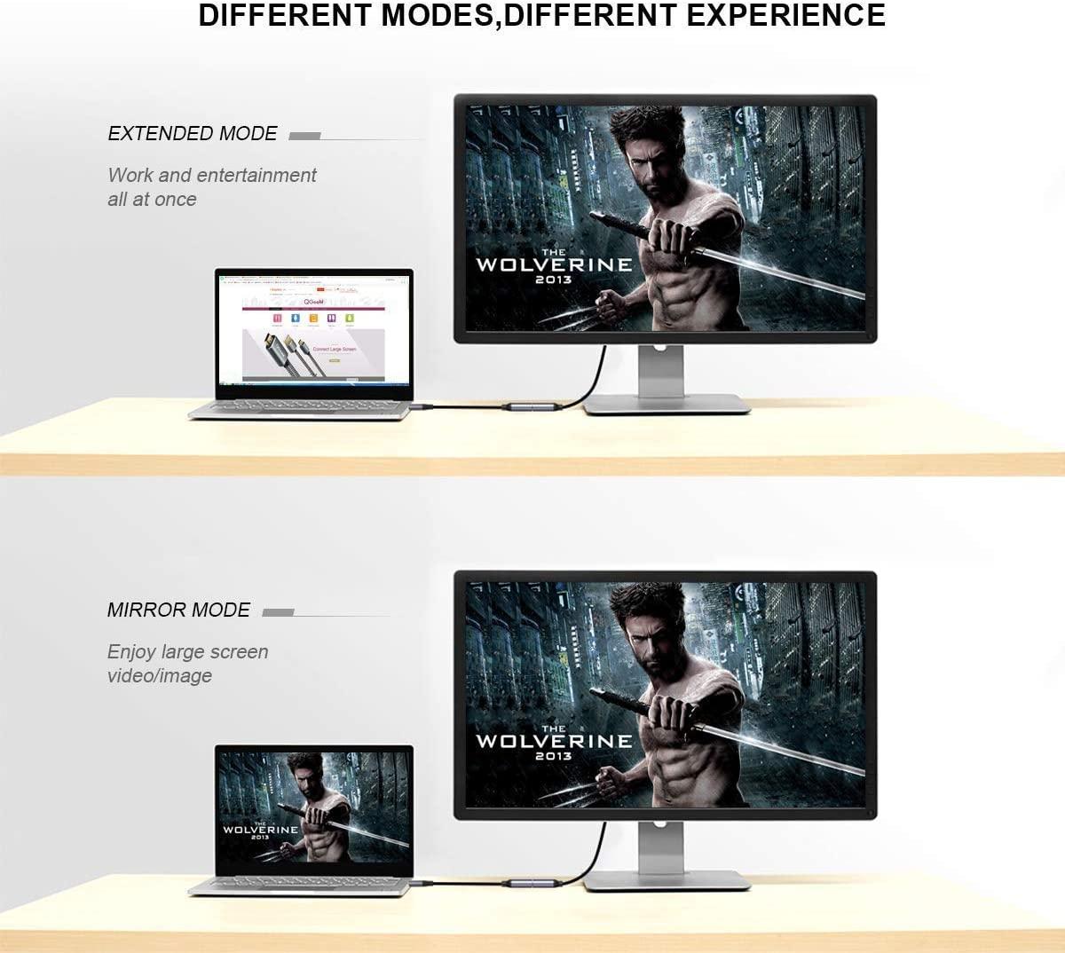 Cáp chuyển đổi Type C sang HDMI QGeeM 4K [tương thích Thunderbolt 3] cho MacBook Pro 2018/2017, Samsung Galaxy S9/S8, Surface Book 2, Dell XPS 13/15, Pixelbook v.v-Hàng chính hãng