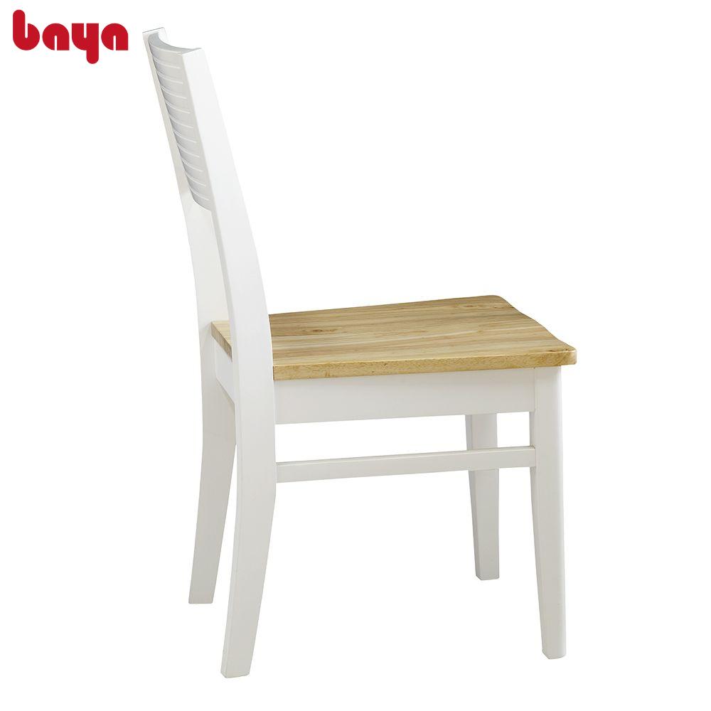 Ghế Bàn Ăn Gỗ BAYA MOZART Dining Chair Thiết Kế Nhỏ Gọn Mặt Ghế Gỗ Cao Su Dẻo Dai Màu Nâu Nhạt Có Vân Gỗ, Lưng Ghế Bản To, Thanh Ghế Vuông