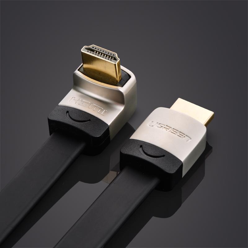 Cáp HDMI đầu đúc hợp kim dẹt vuông góc 90° UP (bẻ lên) dài 2M UGREEN HD122 10279 (ĐEN) - Hàng chính hãng