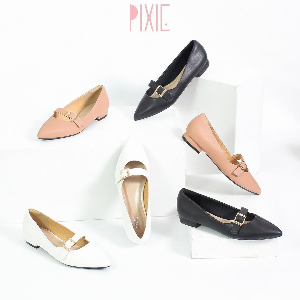 Giày Búp Bê Bệt Quai Ngang Mũi Nhọn Màu Đen Pixie X458