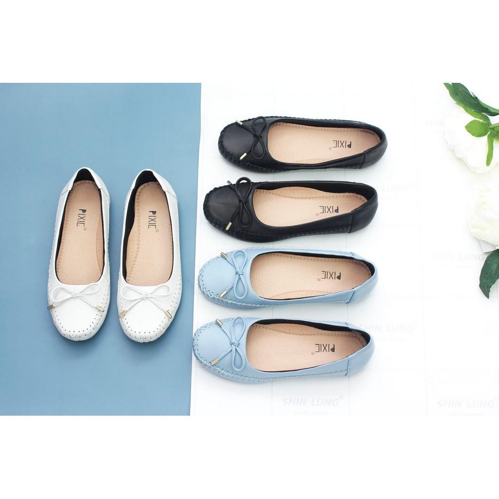 Giày Búp Bê Bệt Da Bò Thật Siêu Êm Gắn Nơ Nhỏ Pixie X603