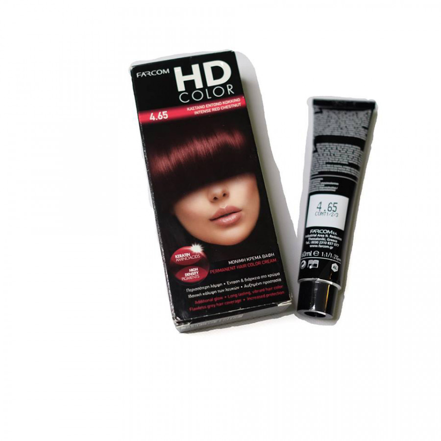 Màu nhuộm nâu đỏ Farcom HD Color 4.65 Intense Red Chestnut (140ml)
