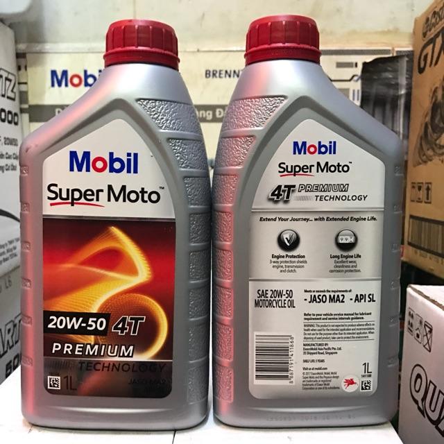 Nhớt xe số cao cấp Mobil Super 4T 20W50 1L - Nhập khẩu Singapore