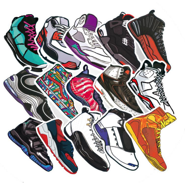 Bộ 60 Miếng Sticker Giày Sneaker 8-12cm Chống Thấm Nước