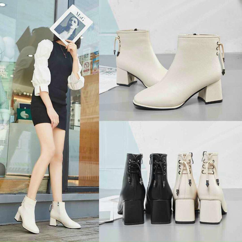 Boots Nữ Cổ Thấp Da Lì Khoá Cạnh Mix Dây Sau Cách Điệu (Mã A11-9)  Kèm Tất Gấu