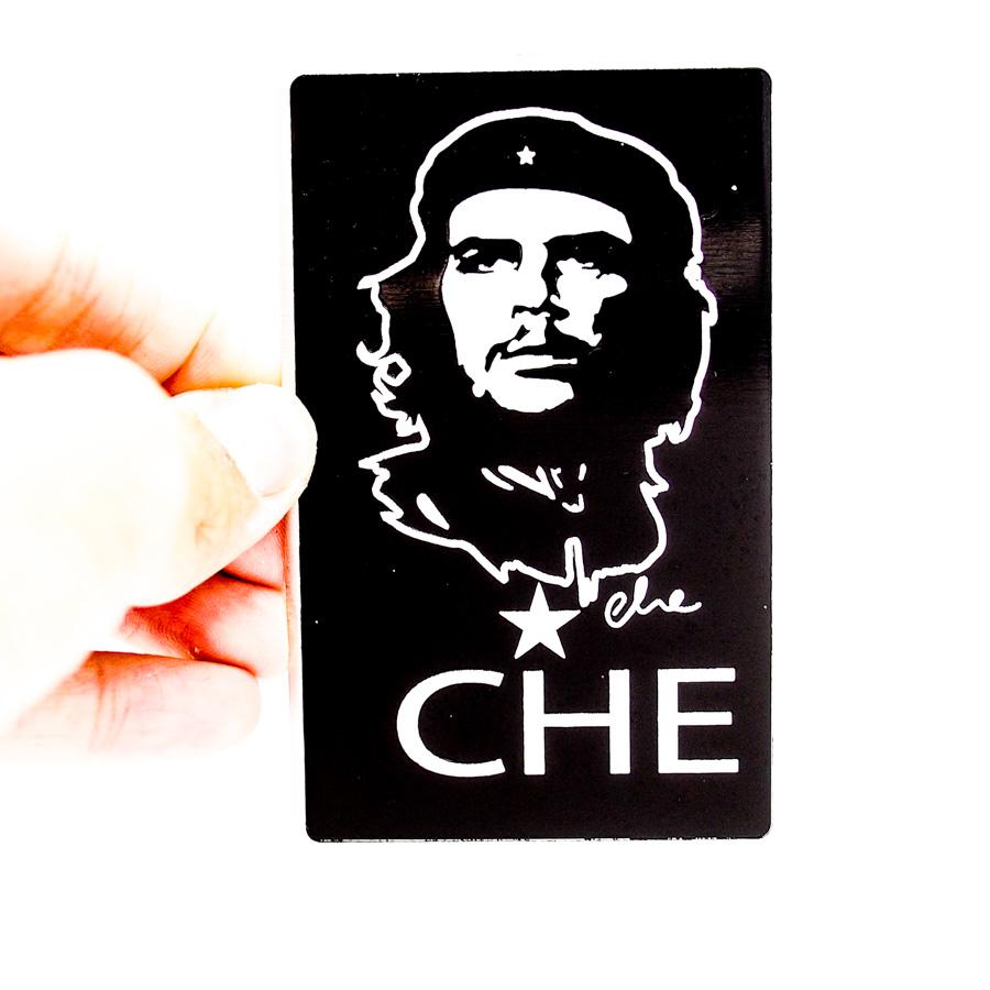Sticker hình dán metal Che Guevara chữ nhật đen