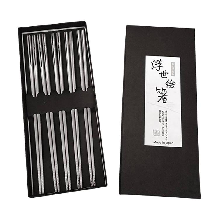 Bộ 5 đôi đũa inox đặc ruột cao cấp nội địa Nhật Bản