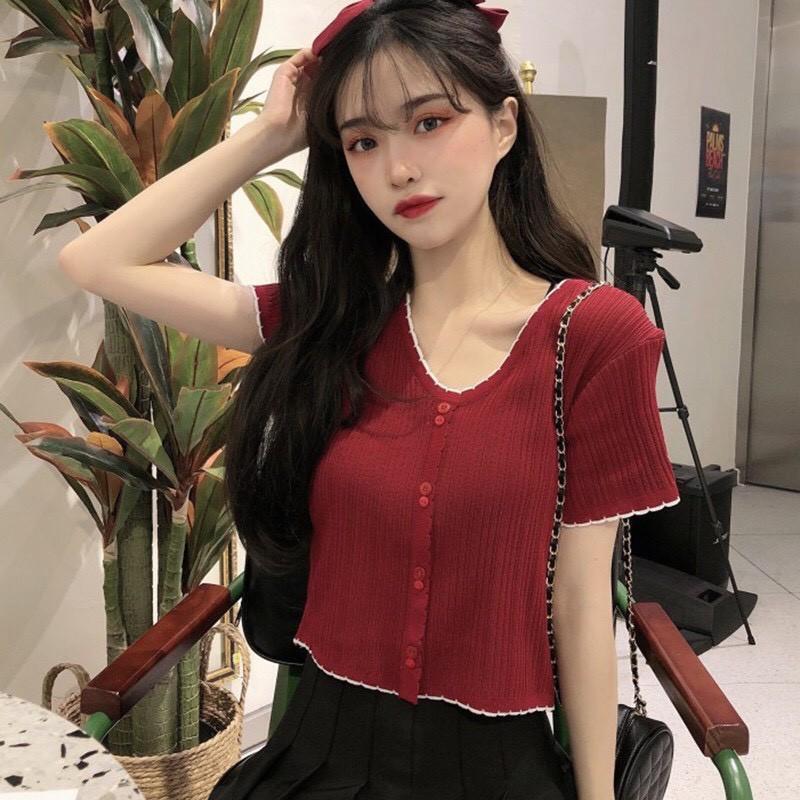 Áo Len Tăm Dệt Kim Tay Ngắn  Áo croptop kiểu ngắn tay phong cách ulzzang Hàn Quốc C36 - Maoshop