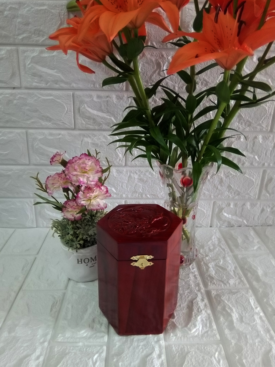 Hộp đựng gói trà gỗ hương trạm mặt tích chim hoa hàng kỹ chốt đinh bản lề - HTT12