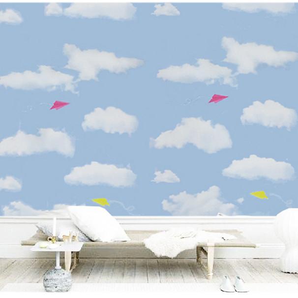 Cuộn 5m Decal Giấy Dán Tường Bầu trời xanh mây trắng (5m dài x 0.45m rộng)