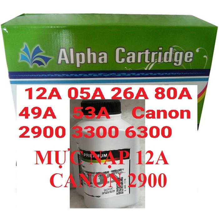 Mực nạp 12A hàng chính hãng Alphacartridge dành cho hộp mực 26A 05A 49A FX9  máy in Canon 2900 3000 3300 6300 251dw 252dw HP 1010 1020 2055 Pro 400 m402 m402nw 1230