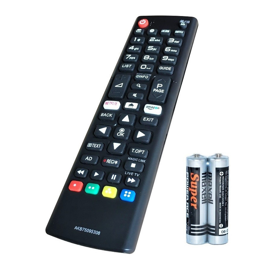Remote Điều Khiển Dành Cho Smart TV LG, Internet TV, TV Thông Minh LG AKB75095308 (Kèm Pin AAA Maxell)