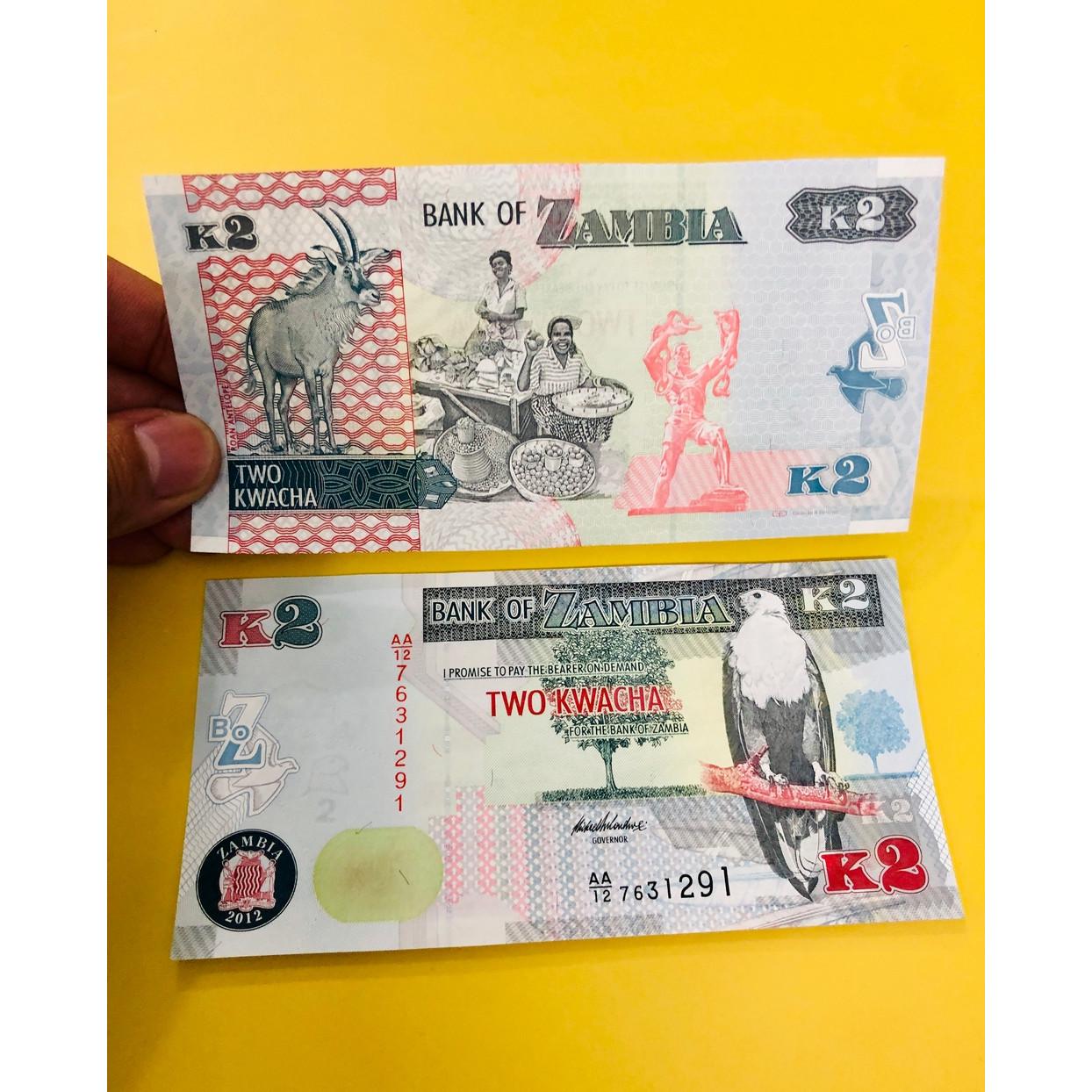 Tiền giấy quốc gia Zambia 2 Kwacha, mới 100% UNC, kèm bao lì xì