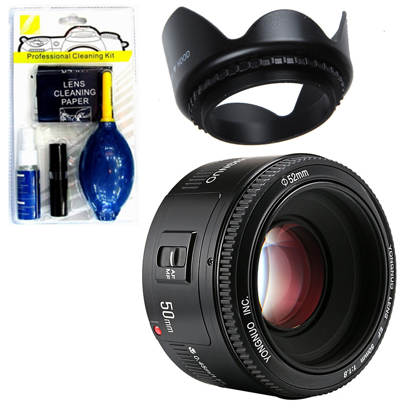 Ống kính Yongnuo 50 F1.8 + Bộ vệ sinh máy +  Lens hood (Hàng Nhập Khẩu)