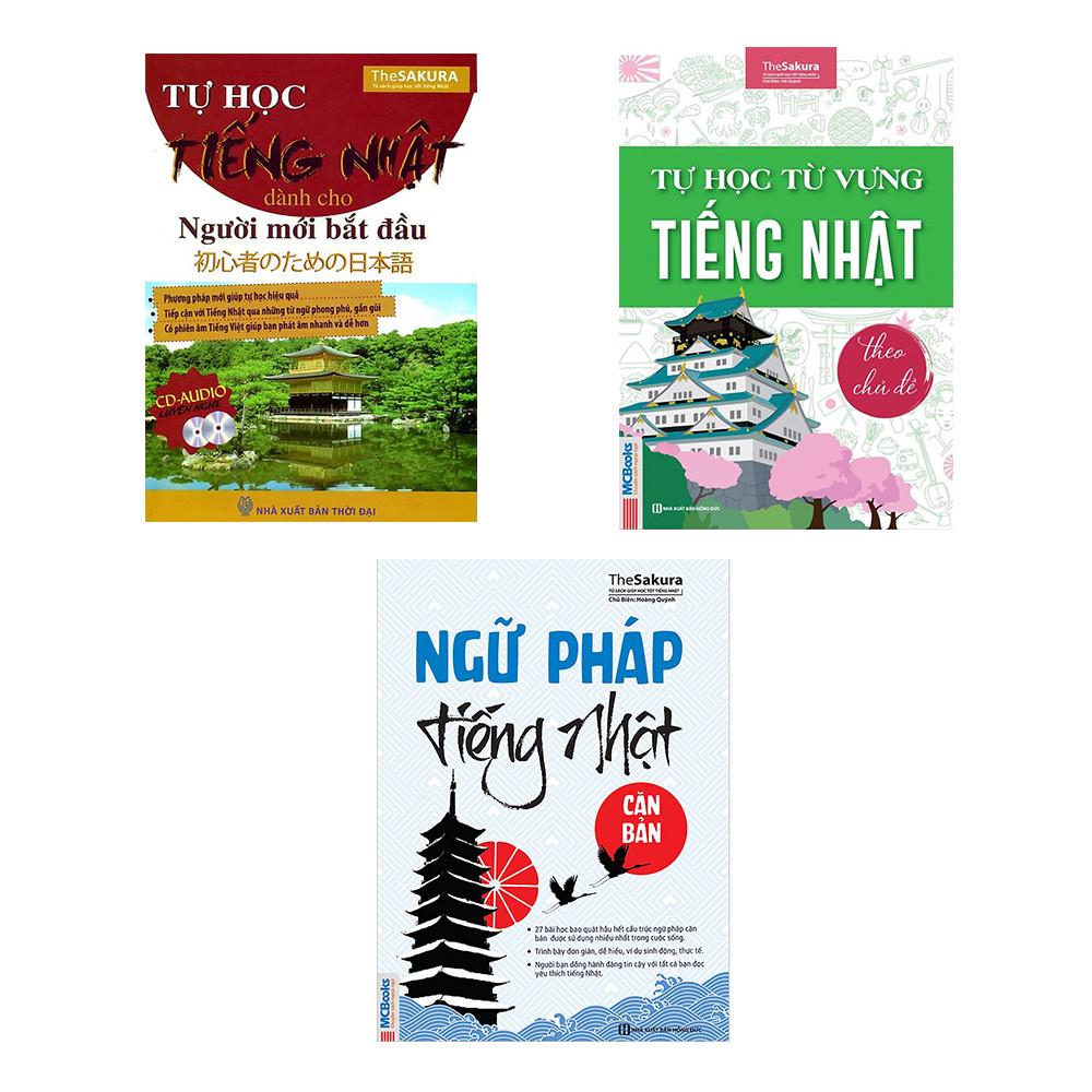 Combo Làm quen với tiếng Nhật( Tự học tiếng nhật dành cho người mới bắt đầu + Ngữ pháp tiếng Nhật căn bản + Tự học từ vựng tiếng Nhật theo chủ đề)