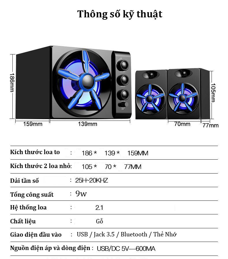 Bộ 3 Loa Vi Tính Để Bàn D-215 Hộp Gỗ, Âm Thanh Siêu Trầm, Hỗ Trợ Bluetooth, USB, Thẻ nhớ, Jack 3.5